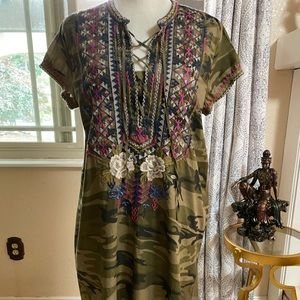 Johnny Was Ronnie Camouflaged Tunic M
